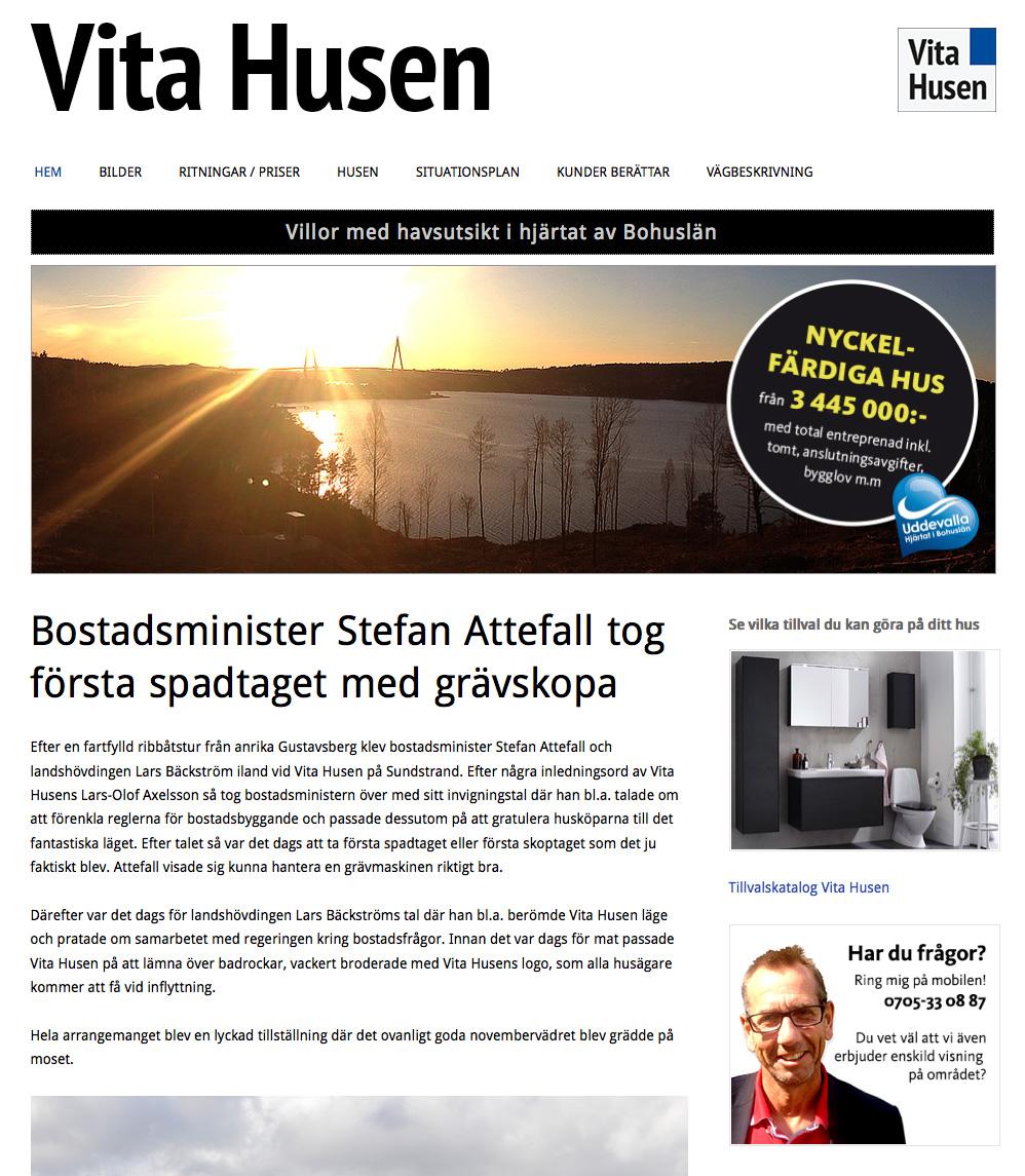 Skärmdump Vita Husen webbplats
